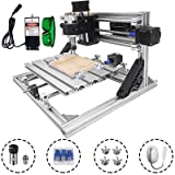Mophorn Cnc Machine 2418 Grbl Control Cnc Router Kit 3 Axis Pcb Laser Engraver 240X180X40Mm With 500mW Laser Head Module and Lamp (Tamaño: 240x180mm)