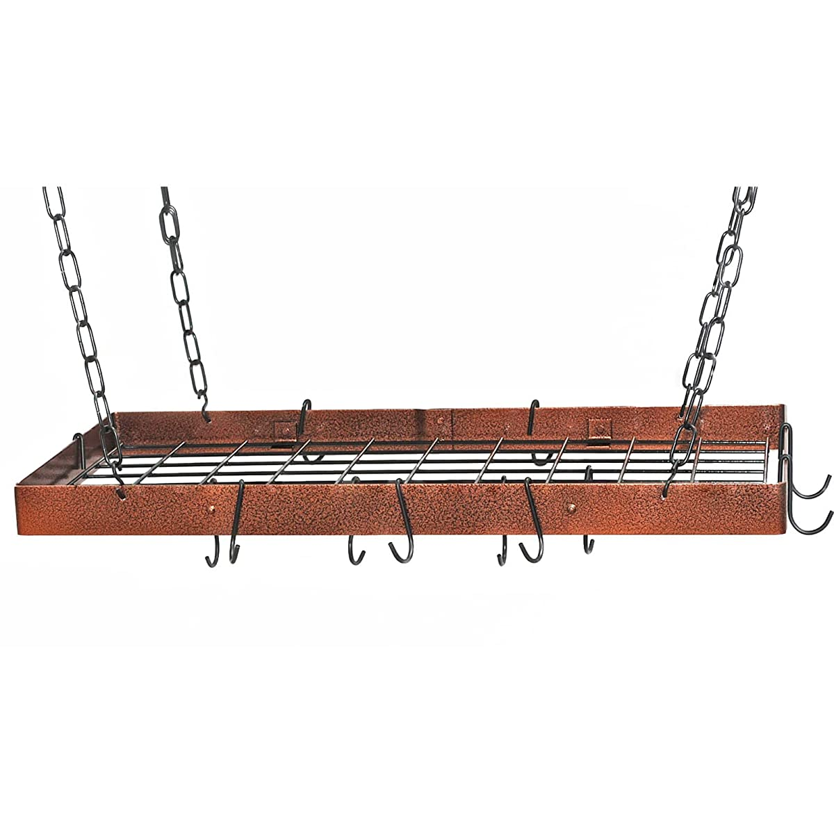 Rogar Hammered Steel Rectangular Pot Rack with Grid and Chrome Accessories 30-in.