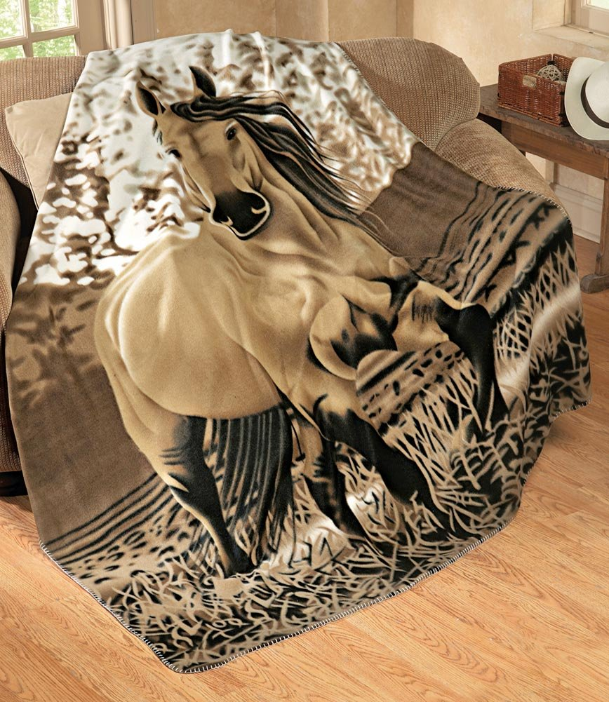 Western Horse Soft Fleece Throw Blanket
