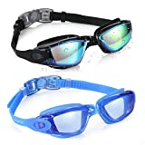 Aegend Swim Goggles, Pack of 2 Swimming Goggles No Leaking Anti Fog UV Protection Crystal Clear Vision Triathlon Swim Goggles with Free Protection Case for Adult Men Women Youth Kids Child, 8 Choices (Color: 02(Black Mirrored Lenses&Blue Light Blue Lenses))