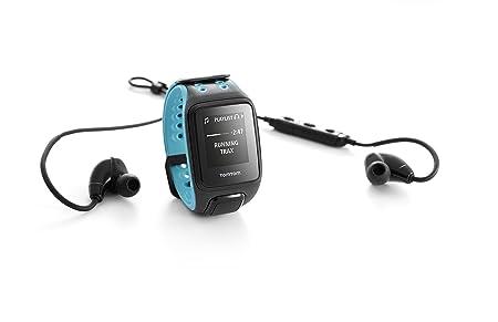 TomTom Runner 2 Cardio + Music + Casque BT - Montre GPS - Bracelet Large Bleu Marine / Turquoise (ref 1RFM.001.05)