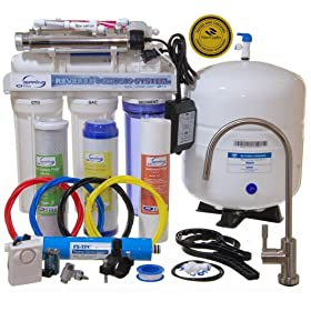 iSpring RCC7AK-UV - WQA Gold Seal - Most Comprehensive 7-Stage 75GPD Reverse Osmosis Water Filter with Flow Sensor Switch 11W UV & Alkaline Mineral Stage