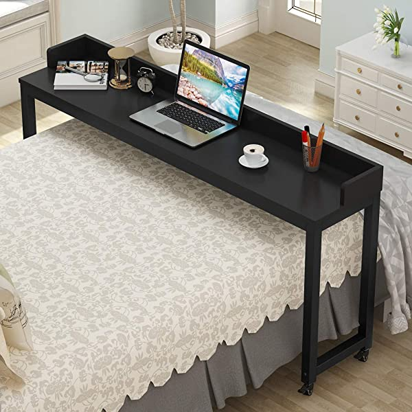 Overbed Table with Wheels, Tribesigns 70.8'' Queen Size Mobile Desk with Heavy-Duty Metal Legs, Works as Pub Table, Counter Height Dining Table or Computer Table Desk, Super Sturdy and Stable (Color: Black)