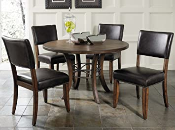 Cameron 5-piece Round Wood Dining Set With Parson Chairs