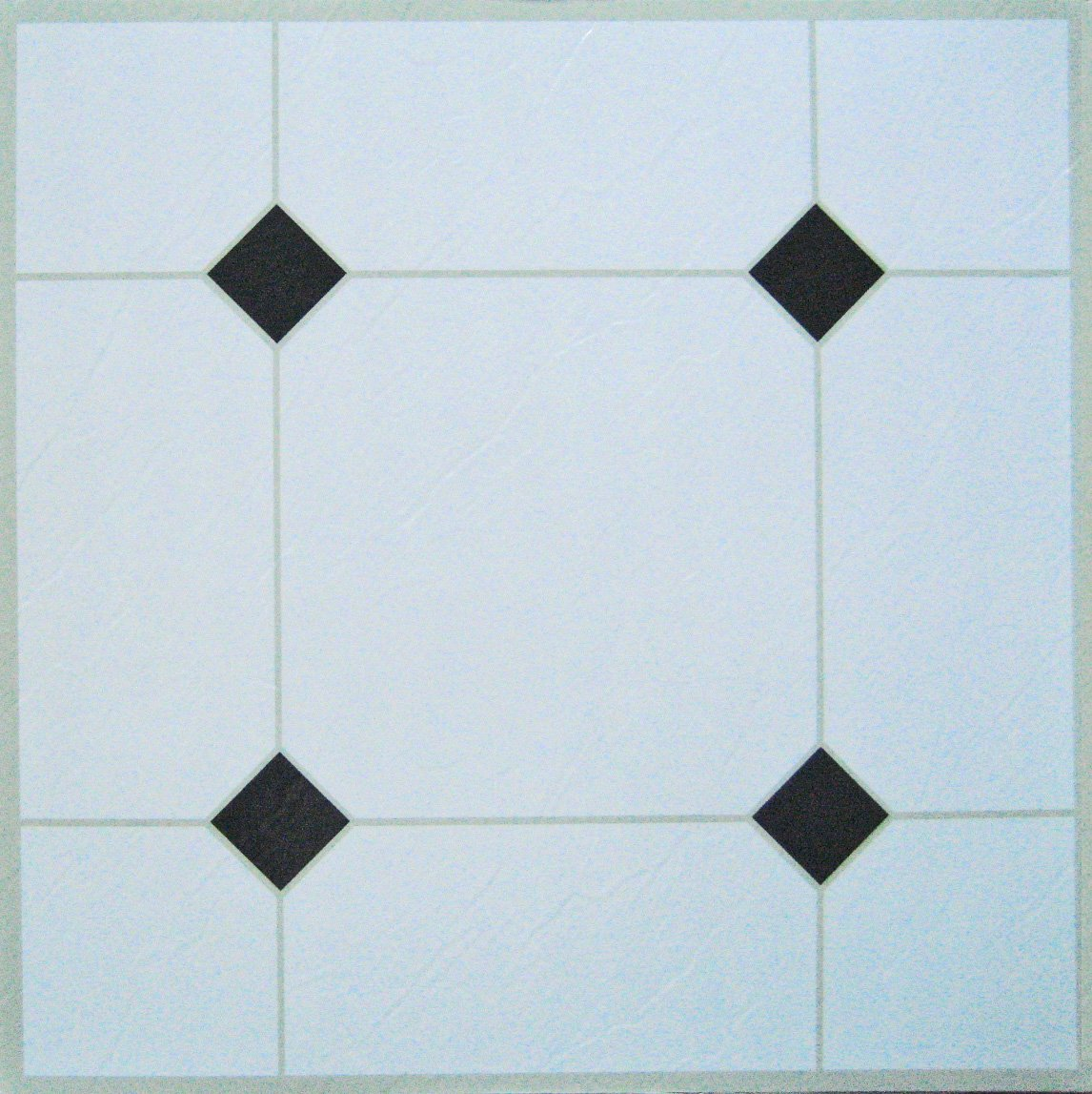 24 x white black diamond self adhesive stick on vinyl flooring floor tiles ebay. Black Bedroom Furniture Sets. Home Design Ideas