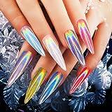 NEWONESUN RROSALIND Women Mirror Powder Effect Chrome Nails Pigment Gel Polish DIY (Chameleon (White))
