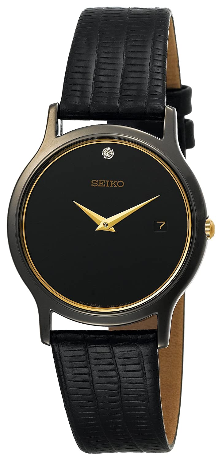 movado watches seiko s skp333 dress black leather
