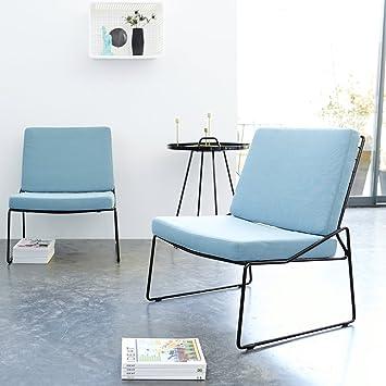 Tikamoon Indoor-Outdoor Happy Fauteuil, Métal, Bleu, 65 x 62 x 78 cm