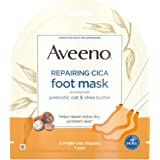 Aveeno Repairing CICA Foot Mask with Prebiotic Oat and Shea Butter, Moisturizing Foot Mask for Extra Dry Skin, 2 Single-Use Slippers 1 ea