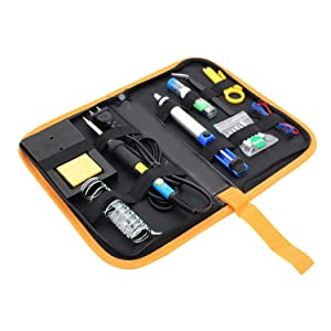 Makeronics Soldering Iron Tool Kit with PU Carry Bag | 60W Adjustable Temperature Welding Iron with On/Off Switch |5pcs Tip | Desoldering Pump|Tin Wire Tube|Soldering Iron Stand | Tweezers