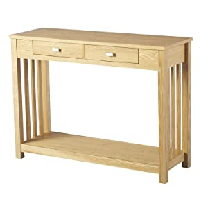 WorldStores Ashmore 2 Drawer Console Table  Ash Veneer  Slatted Sides W 107 xD 37 xH 79 cm       Customer reviews and more information