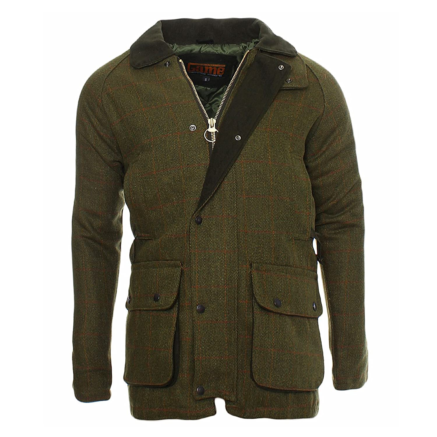 Game Tweed Herren Winterjacke Parka Parker Herrenmantel