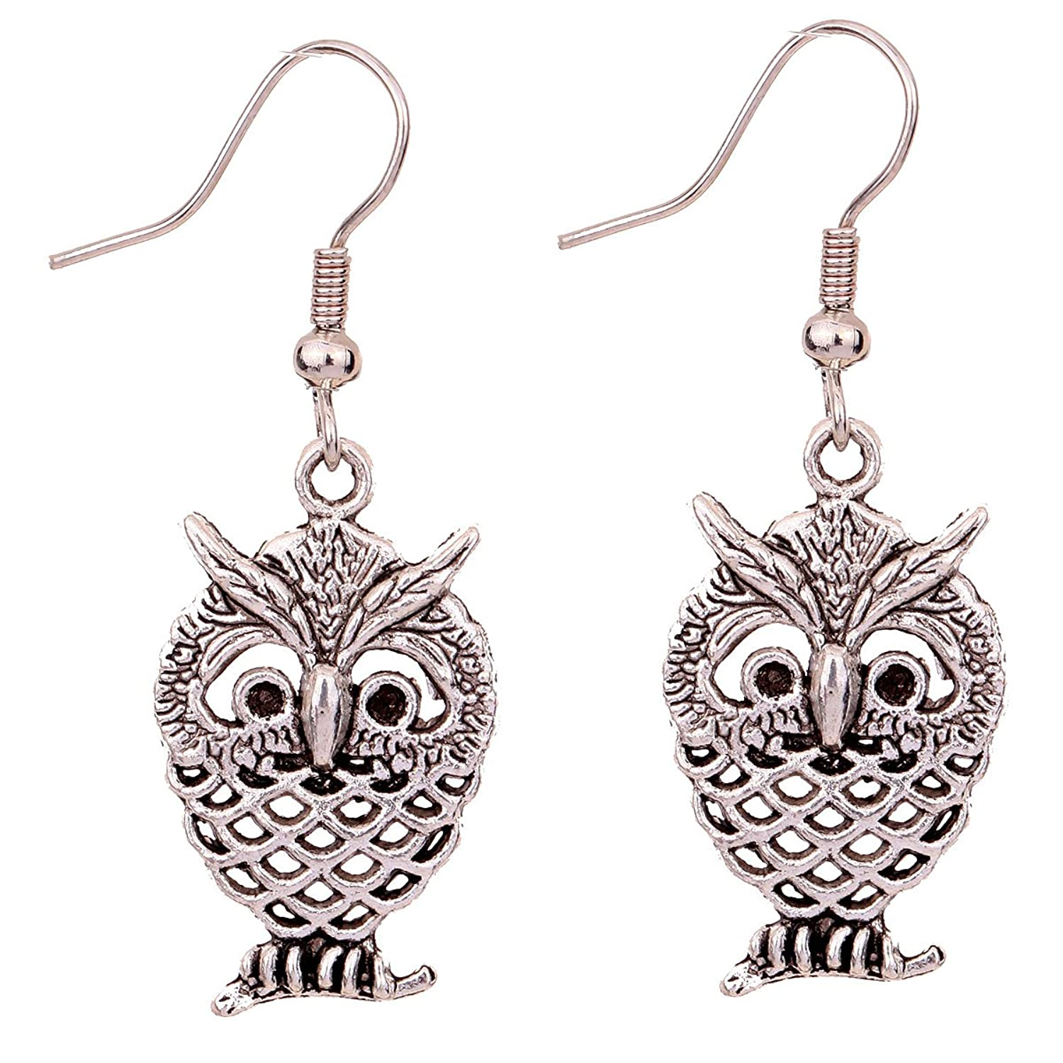 Yazilind Special design owl Ear Wire Hook Dangle Earrings retro Tibetan silver