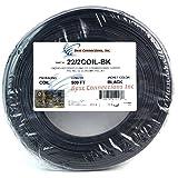 Alarm Wire Black 22 Gauge Copper Stranded 2 Conductor 500' Coil Pack UL Listed (Color: Black)