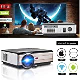 WiFi Projector Android 3500 Lumen Support WiFi Connection 1080p Full HD LED Projector Wireless with Speaker HDMI Cable Remote for Laptop Mac Phone iOS DVD TV Netflix Blue Ray Player (Color: 3500 Lumens+WiFi+HD Projector)