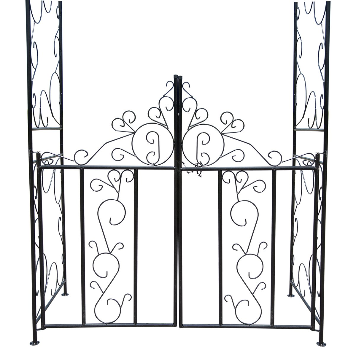 HollyHOME Decorative Metal Garden Arch with Gate, Perfect for Climbing Plant, Outdoor Lawn Yard, 72 High x 39 Wide