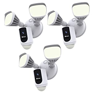 Swann Floodlight Security Camera w/Dimmable Motion Lighting, 2 Way Talk, Wi-Fi Surveillance 1080p HD, Indoor/Outdoor Color Night Vision, True Detect Heat Sensing, Alexa/Google, SWWHD-FLOCAMW, 3 Pack (Color: White, Tamaño: Pack of 3 Floodlight Cameras)
