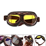 MENGCORE Motorcycle Goggles Glasses Vintage Motocross Classic Goggles Retro Aviator Pilot Cruiser Steampunk ATV Bike UV Protection Copper (Yellow Lens) (Color: Yellow Lens)