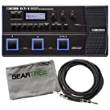 Boss GT-1 Electric Guitar Multi-Effects Processor Pedal Bundle w/Cable and Cloth (Color: Black)