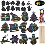 Max Fun Rainbow Color Scratch Christmas Ornaments (48 Counts) - Magic Scratch Off Cards Paper Hanging Art Craft Supplies Educational Toys Kit with 48 PCS Drawing Sticks & Cords for Kids Party Favors