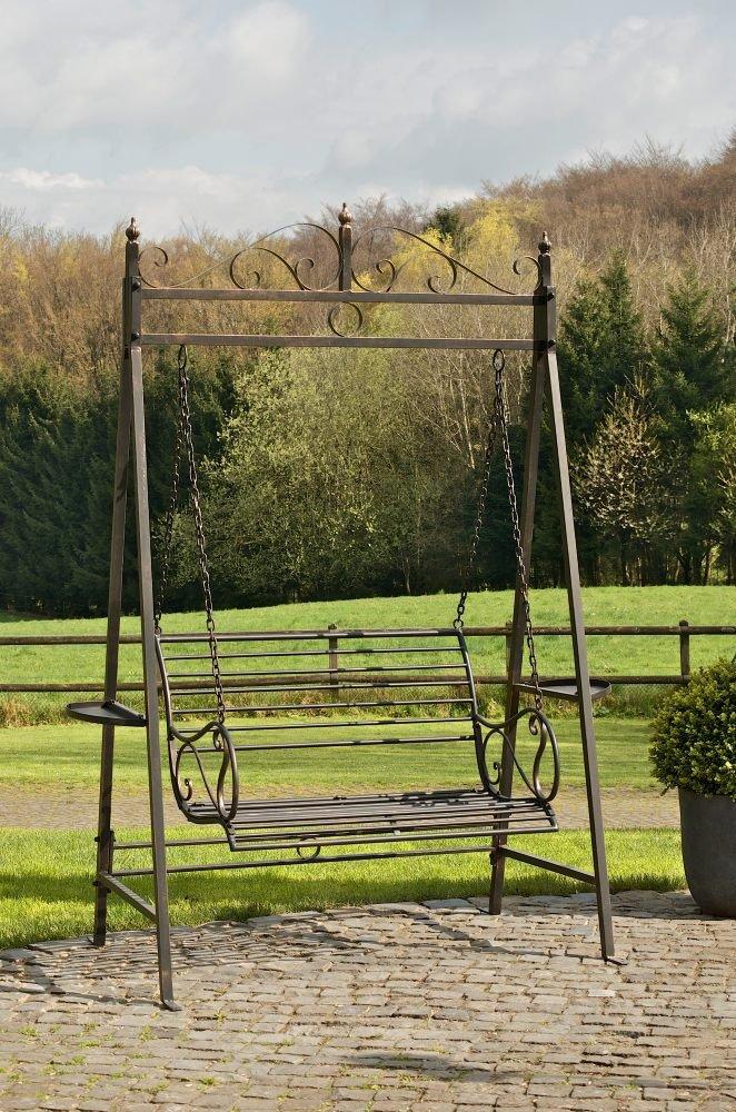 CLP Gartenschaukel AIMEE im Landhausstil, aus lackiertem Eisen (aus bis zu 3 Farben wählen) bronze