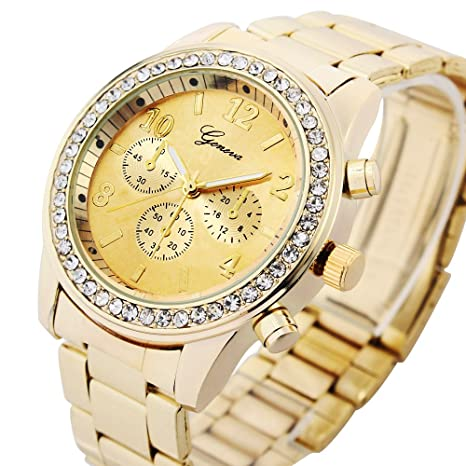Geneva-Chronograph-Look-Watch-with-Crystals-Gold-Tone-Metal-Link