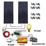 ECO LLC 300W 24V Off-Grid Solar System + 2pcs 150W Solar Panel + 1000W 24V to110V Inverter for Home Power Supply (Tamaño: 300W)
