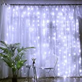 DLIUZ UL Safe 304 LED 9.8Feet Connectable Curtain Icicle Fairy String Lights, with, 8 Modes for Wedding Party Family Patio Lawn Decoration White (Color: White, Tamaño: 8 Modes for Wedding Party Family Patio Lawn Decoration)