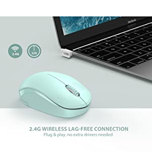 [Upgrade] Wireless Mouse, 2.4G Noiseless Mouse with USB Receiver - seenda Portable Computer Mice for PC, Tablet, Laptop and Windows/Mac/Linux - Mint Green (Color: Green Wireless Mouse - Upgrade, Tamaño: Green Wireless Mouse - Upgrade)