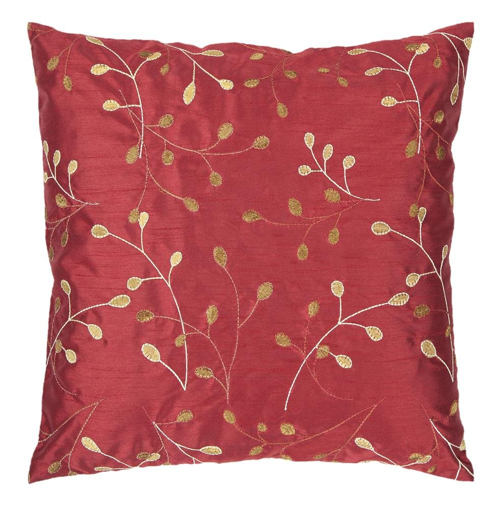 Surya HH-093 Hand Crafted 100% Polyester Venetian Red 18 x 18 Floral Decorative Pillow