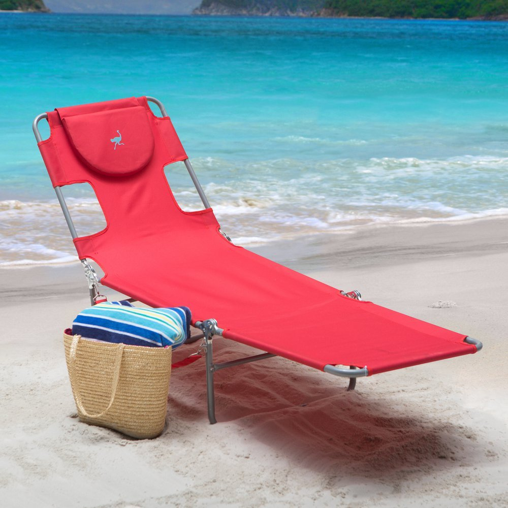 New reclining beach sun lounger portable chaise folding for Beach chaise lounge