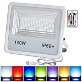 10 Pack 100W RGB LED Flood Lights, Christmas Decoration Light Waterproof Outdoor Color Changing LED Security Light with Remote Control, Dimmable Wall Washer Lights with US 3-Plug (Color: 100w Rgb Led Flood Light Outdoor, Tamaño: 10pcs 100W RGB)