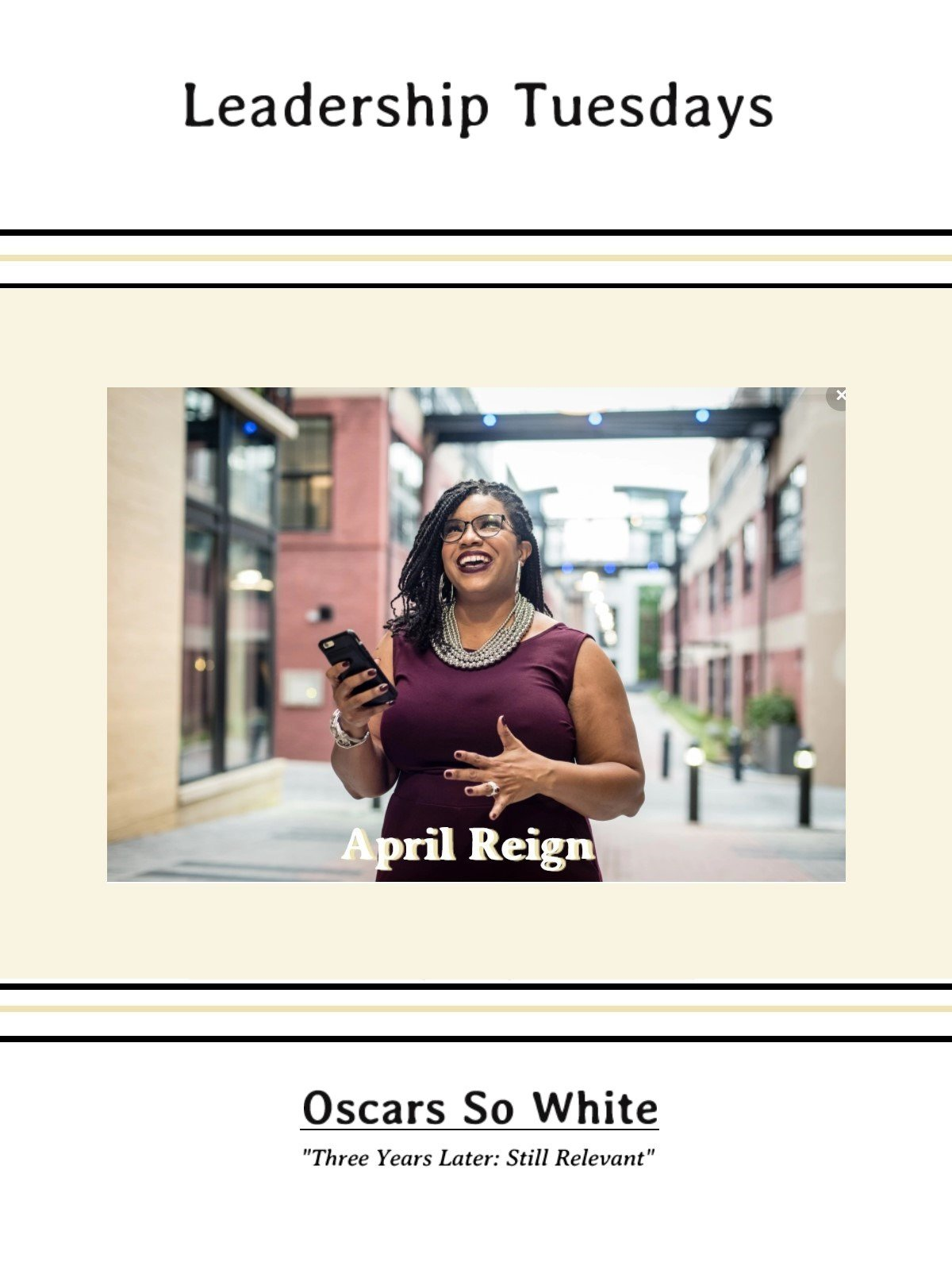 "Leadership Tuesdays: April Reign | ""Oscars So White"" on Amazon Prime Instant Video UK"
