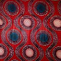 African Print Fabric Cotton Print Orbs Red 44'' wide By The Yard Red Blue White