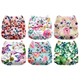 Mama Koala One Size Baby Washable Reusable Pocket Cloth Diapers, 6 Pack with 6 One Size Microfiber Inserts (Bloomin' Lovely) (Color: Bloomin' Lovely, Tamaño: One Size)
