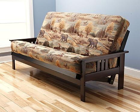 "Futon Montrose Espresso Frame w/ Premium Viva Storm 8"" Mattress Sofa Bed (Canadian)"