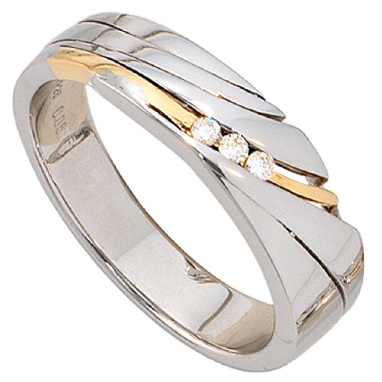 Damen-Ring 925 Sterling Silber 3 Diamant-Brillanten jetzt kaufen