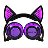 Limson Cat Ear Bluetooth Over-Ear Stereo Kids Headphone with Mic, Whole Body Flashing Rhythm Glowing Foldable Earphones for Cosplay Earphone (Purple-Whole, 3.5mm) (Color: Purple)