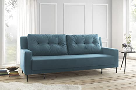 Bobochic BERGEN Canapé de 3 places convertible Tissu Turquoise 222 x 92 x 90 cm