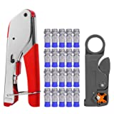 Coax Cable Crimper, Coaxial Compression Tool Kit Wire Stripper with F RG6 RG59 Connectors (Updated Module) (Color: Updated Module)