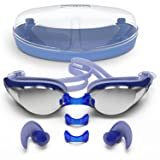 Zoma Swimming Goggles with Anti Fog Technology - 3 Piece Adjustable Nose Bridge for Perfect Comfortable Fit for Adults and Kids - Ergonomic Silicone Earplugs Included (Blue) (Color: Blue)