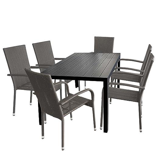 7tlg. Gartengarnitur Gartentisch Tischplatte Polywood 150x90cm + 6x stapelbare Rattansessel Sitzgruppe Aluminium Stapelstuhl Polyrattan Gartenstuhl Terrassenmöbel Sitzgarnitur
