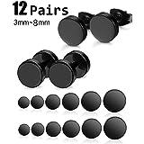 Adramata Black Stud Earrings for Men Piercing Earring Set (Color: Black)