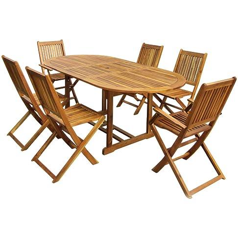 Charles Bentley Garden Hardwood ovale in legno Giardino Patio Furniture Set allungabile Tavolo e 6 sedie