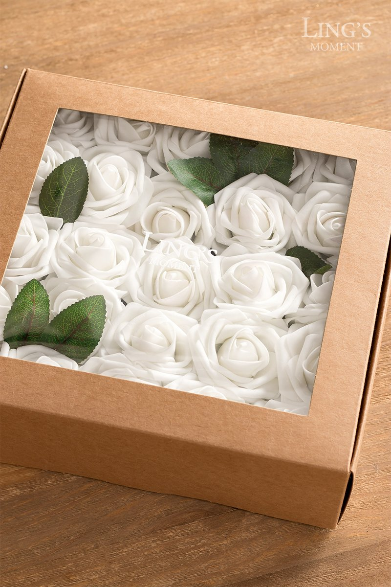 Lings moment Artificial Flowers White Roses 25pcs Real Looking Fake Roses w/Stem for DIY Wedding Bouquets Centerpieces Party Baby Shower Home Décor