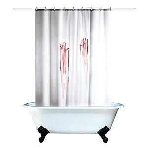 Blood Bath Scary Horror Movie Bloody Handprint Shower Curtain