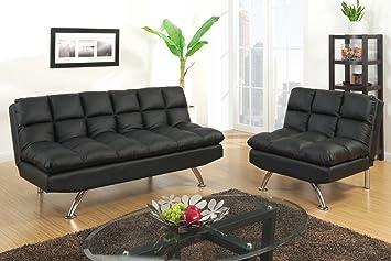 Poundex F7013 & 7014 Black Tufted Leatherette Adjustable Sofa Set