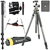 Vanguard Alta Pro 2+ 263AB 100 Aluminum Tripod with Alta BH-100 Ball Head and Multi-Angle Center Column, Ritz Gear Tripod Stone Bag, 72-Inch Monopod with Quick Release and Ritz Gear Cleaning Kit