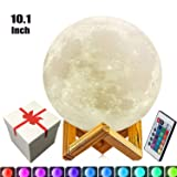 10.1 inch Large Moon Lamp,3D Moon Lamp, 100% 3D Printed LED Moon Lamp,16 Colors Moon Lamp with Remote Control Decorative Moon Light. (Color: White, Tamaño: 10.1in)