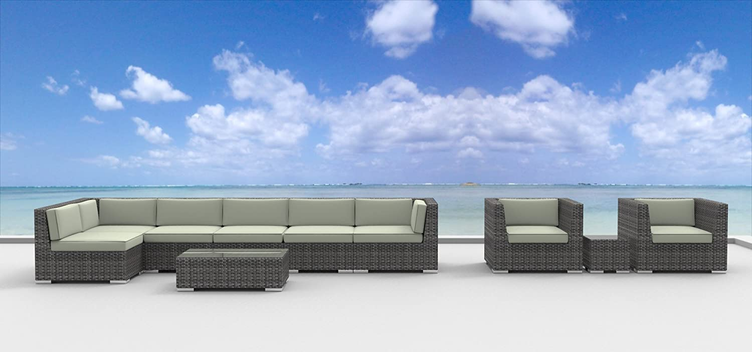 www.urbanfurnishing.net Urban Furnishing - MANADO 10pc Modern Outdoor Backyard Wicker Rattan Patio Furniture Sofa Sectional Couch Set - Beige at Sears.com